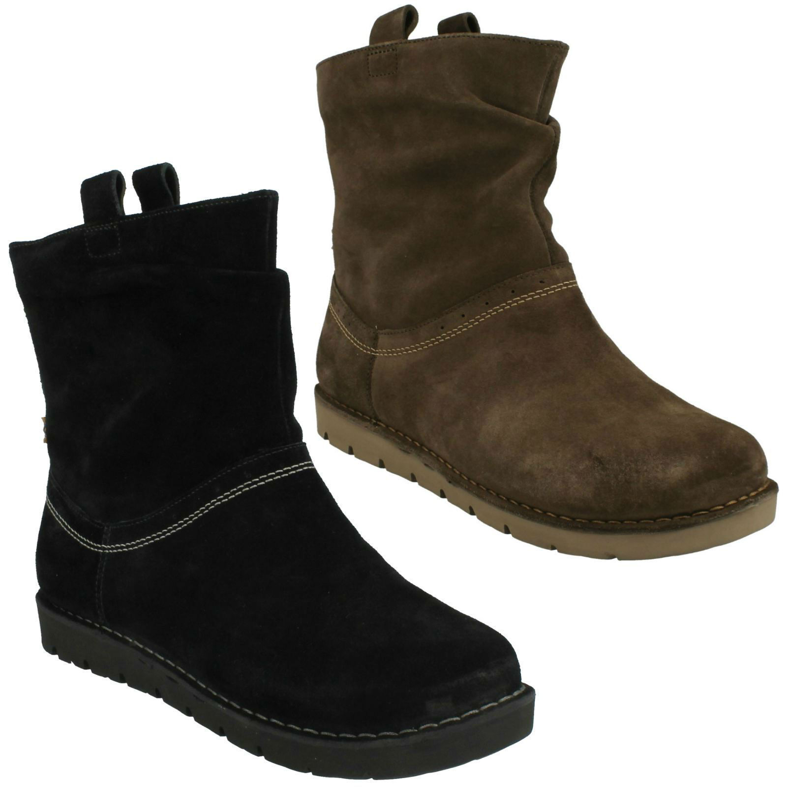UN ASHBURN LADIES CLARKS UNSTRUCTURED PULL ON ANKLE FLAT CASUAL WIDE FIT ANKLE ON BOOTS 191c27