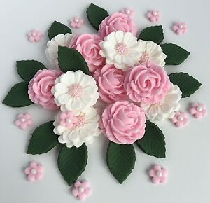 Pink white roses bouquet wedding flowers cake decorations edible image is loading pink amp white roses bouquet wedding flowers cake mightylinksfo
