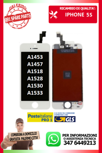 LCD-TOUCH-SCREEN-SCHERMO-DISPLAY-PER-IPHONE-5S-BIANCO-A1453-A1457-A1518-A1528