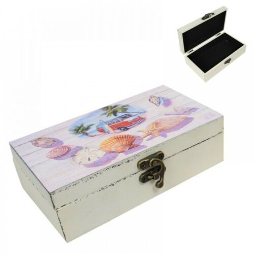 18CM MDF Combi Themed Trinket Box with Latch Beach Themed Vintage Style