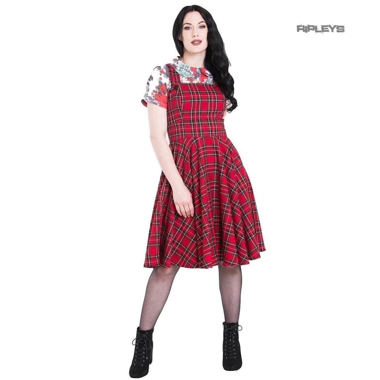 Hell Bunny 50s Rockabilly  Retro Dress IRVINE Pinafore rot Tartan All Größes