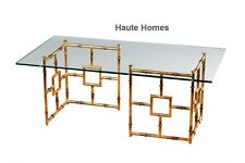 NEW HOLLYWOOD REGENCY GOLD BAMBOO Iron COFFEE  COCKTAIL Table Beveled Glass