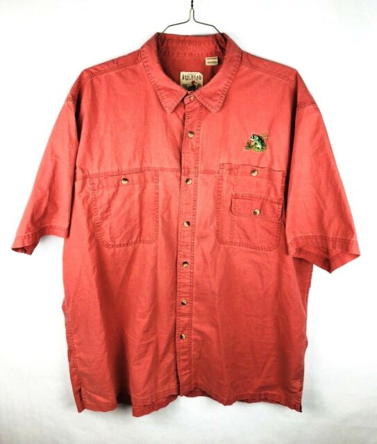 RedHead Mens Button Front Fishing Shirt Size 2XL XXL Salmon Pink Red Bass