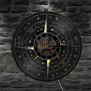 Compass-Rose-Wall-Clock-Nautical-Navigation-Vinyl-Record-Wall-Clock-Mariner-Gift