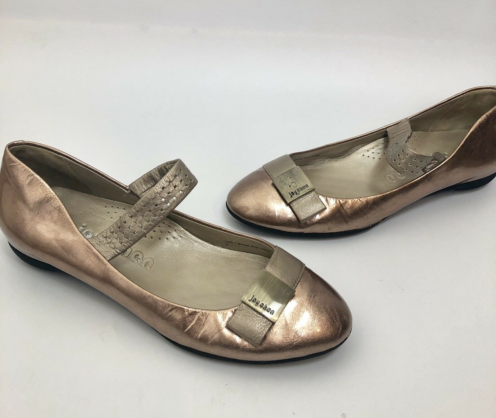 Joy chen pink gold mary janes flats size 7