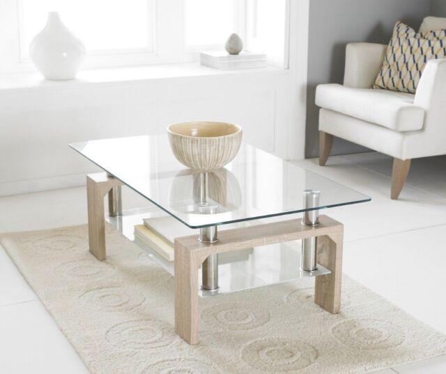 Oak Modern Rectangle Glass Chrome Living Room Coffee Table With Lower Shelf