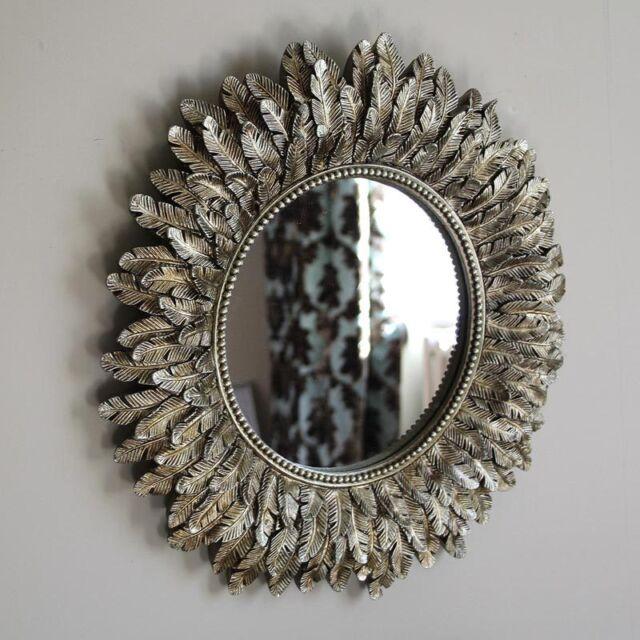 Top Gold Feather Effect Wall Mirror Living Room Bedroom Hallway Vanity  RT71