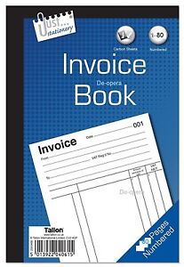 Full Size A5 Invoice Duplicate Receipt Book 1-80 Pages