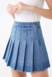 EUC BURBERRY LONDON women's dark blue wash denim pleated mini skirt szL