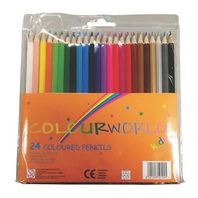 NEW 24 COLOURING PENCILS PACK CHILDREN KIDS SCHOOL ART STUDIES CRAFT ARTISTS
