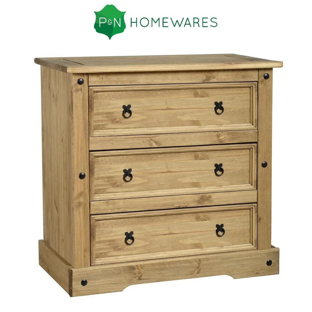 corona 3 schublade truhe in beunruhigt gewachst kiefer rustikal kiefer kasten ebay. Black Bedroom Furniture Sets. Home Design Ideas
