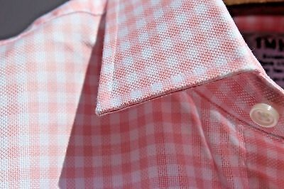 T.M. Lewin Jermyn St.16.5/36 Slim Fit Pink Gingham Check Pique Cotton LS Shirt