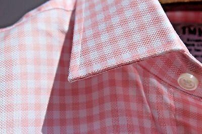 T.M. Lewin Jermyn St.16.5/36 Slim Fit Pink Gingham Check Pique Cotton LS Shirt