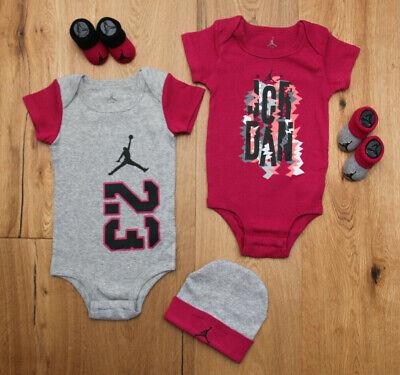Hat /& Booties Set~Black White,Gray /& Red~0-6M Jordan Baby Boy 5 Piece Bodysuit