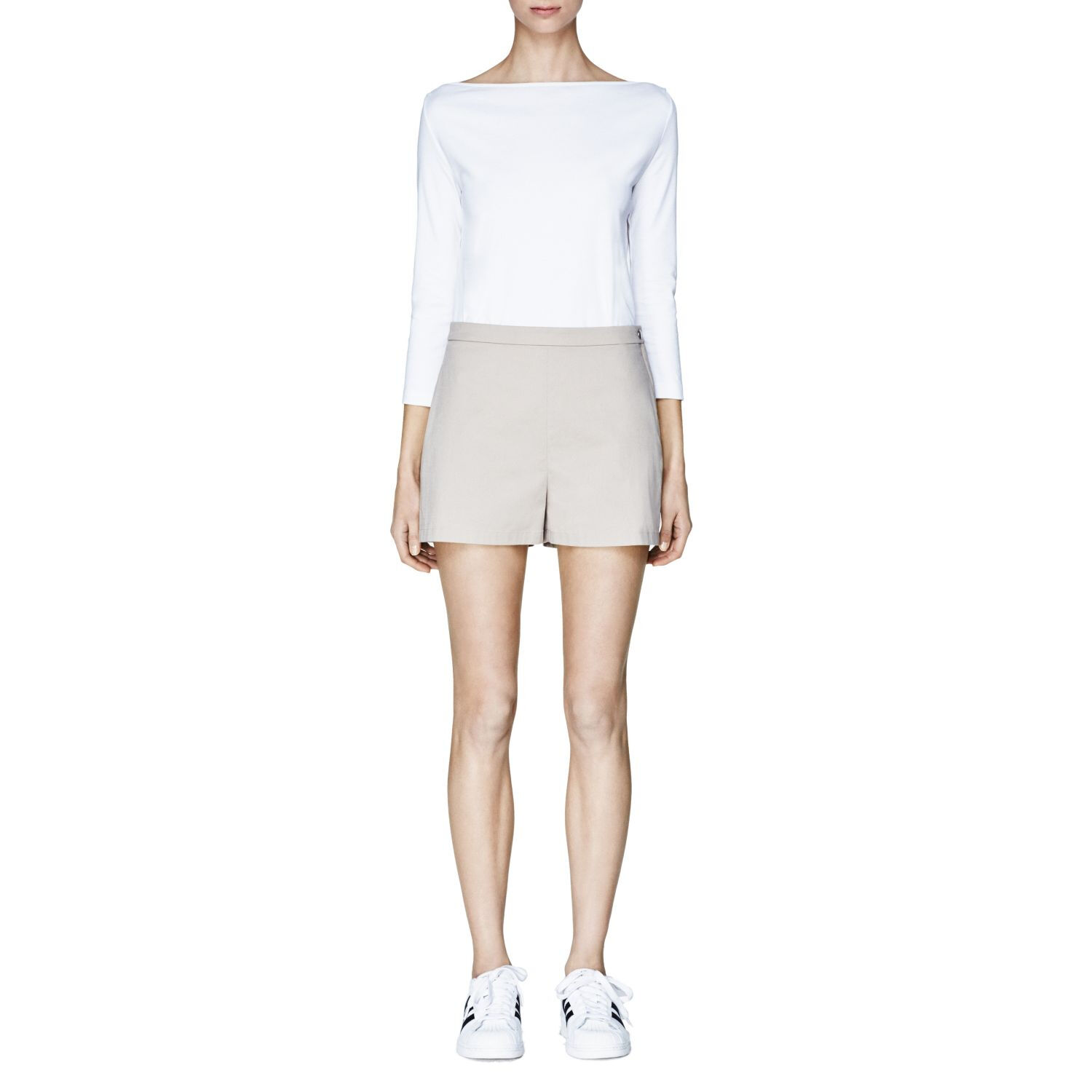 NWT- Theory 'Micro' High Waisted Summer Twill Shorts, Cement Beige - Size 2