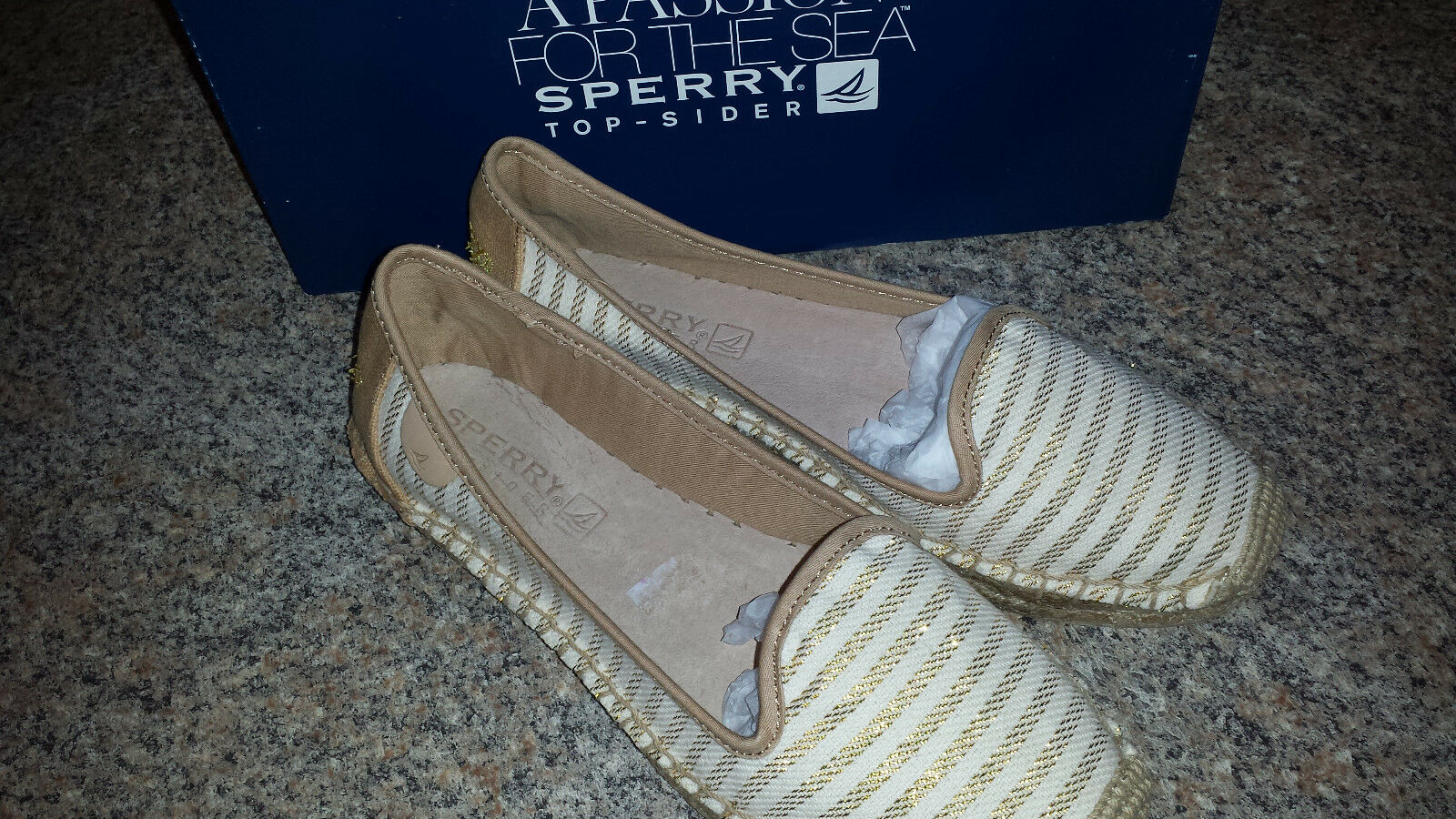 SPERRY TOP-SIDER Womens COCO Sand gold Slip on Loafer Espadrille 5 M NEW
