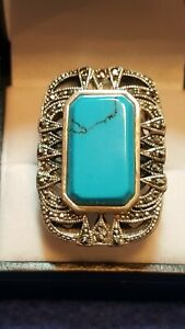 Silver-925-Turquoise-amp-Marcasite-Ladies-Statement-Big-Ring-BD805