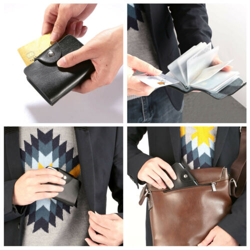 Leather Business ID Credit Card Holder Organizer Snap Closure w// 26 Card Slots