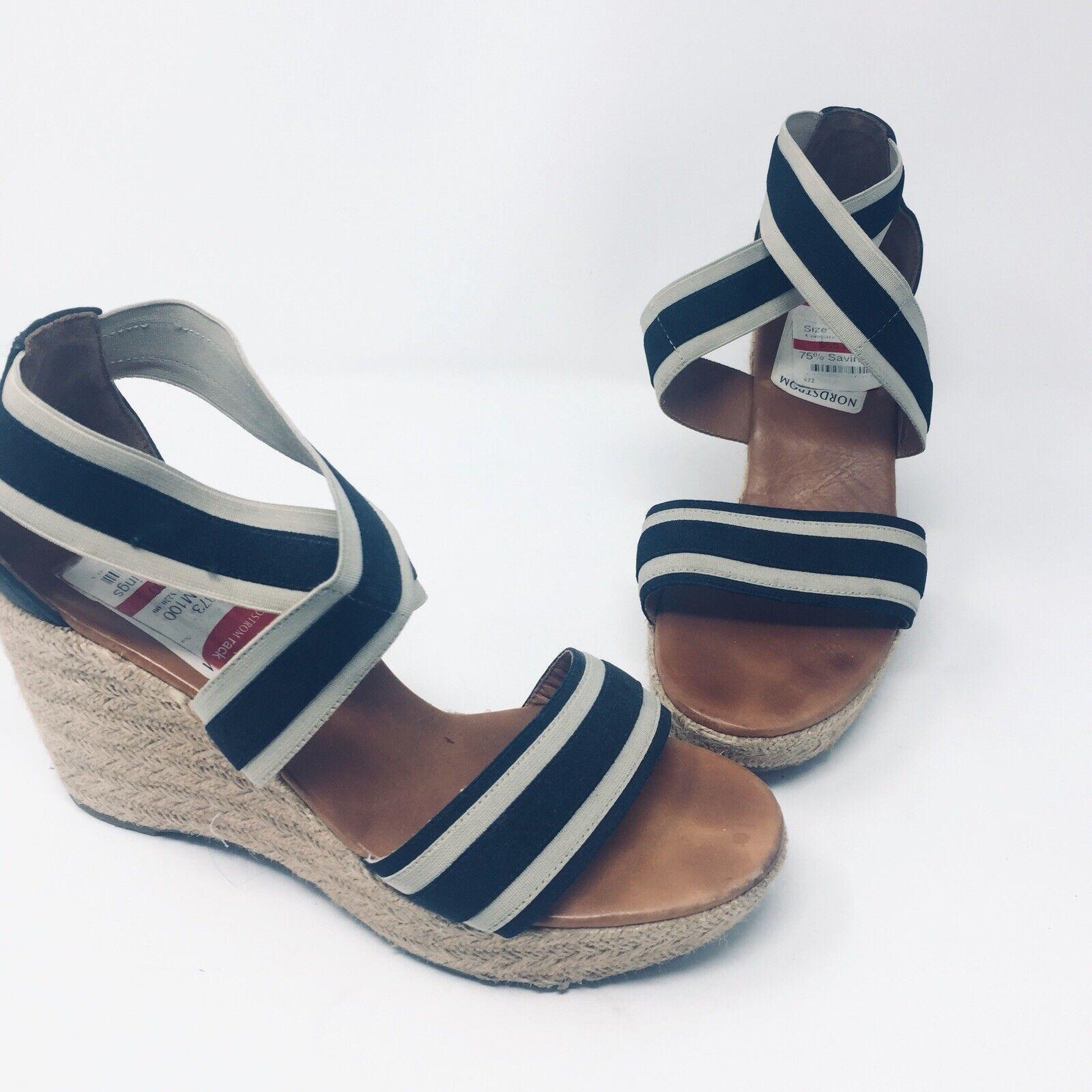 Paul verde Monique Munchen Wedge donna Navy Nautical Stripe Sandals Dimensione 10