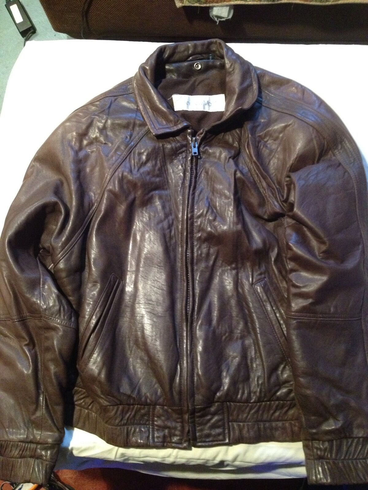 Andrew Marc Brown Leather Bomber With Detachable Fur Vest Womens Size M
