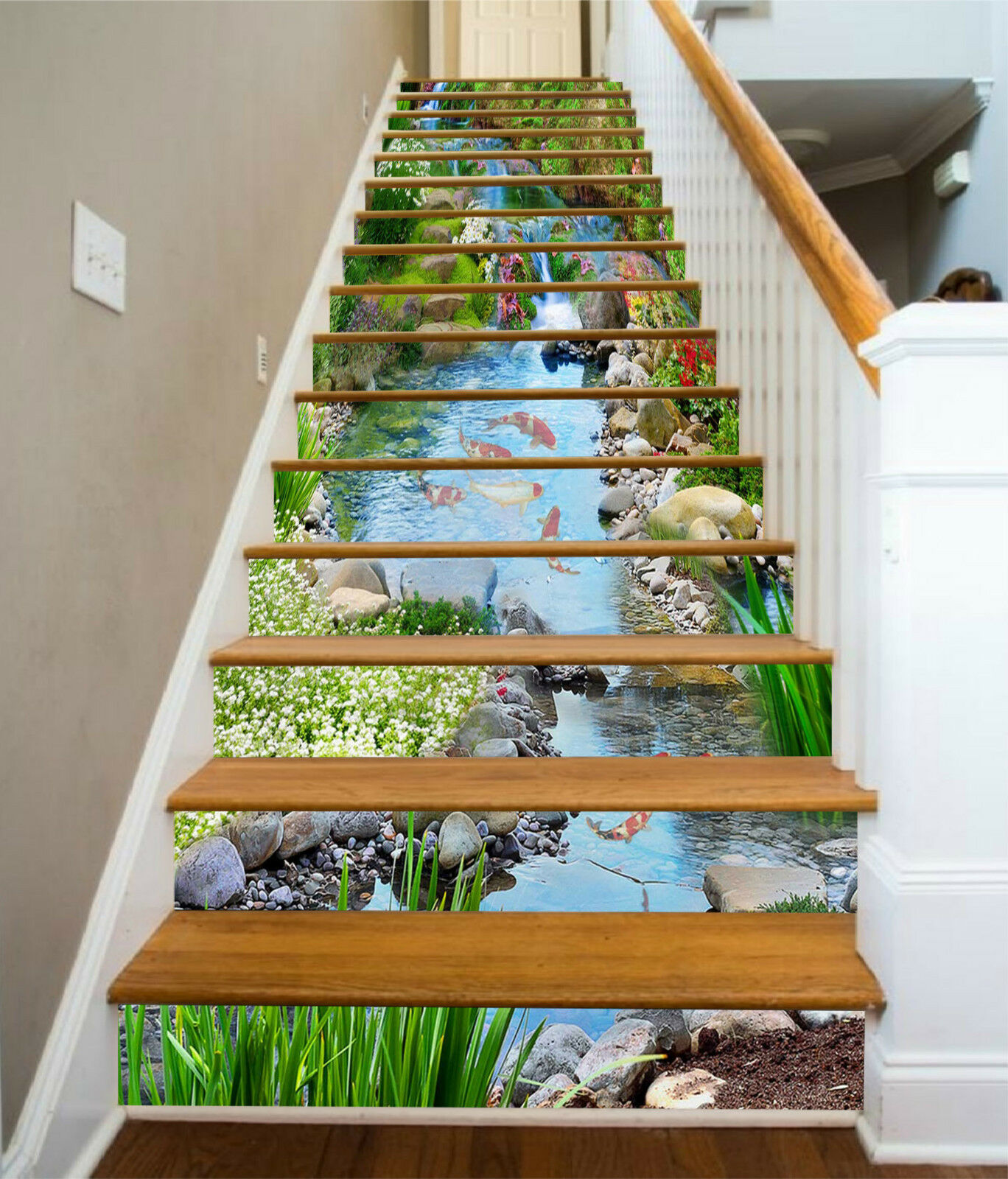 3D Karpfen Bach 226 Stair Risers Dekoration Fototapete Vinyl Aufkleber Tapete DE
