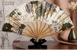 Chinese Japanese Folding Green &White Silk Hand Flower Bamboo Asian Pocket Fan