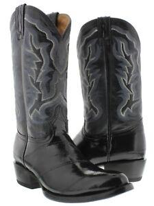 Men's Black Genuine Eel Skin Cowboy Boots Round Toe