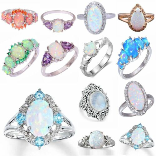 White Fire Opal 925 Silver Filled Gemstone Jewelry Heart Rings Wedding Gift