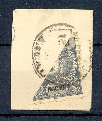 MACAU CHINA 1910 STAMP BISECTED ON PIECE   @9
