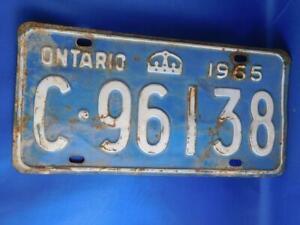 ONTARIO-LICENSE-PLATE-1965-C-96138-VINTAGE-CROWN-CANADA-CAR-SHOP-GARAGE-SIGN