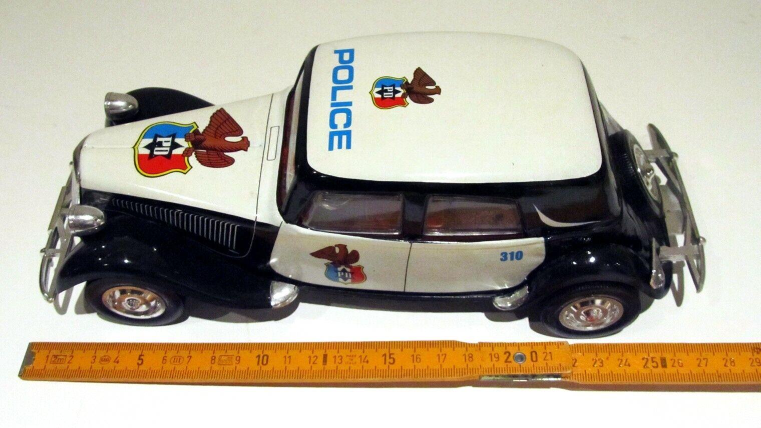 Rare Vintage Citroën Traction Avant Tôle POLICE Blik Roman Spain 27 cm Tin Toy