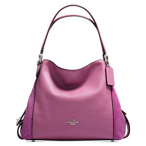 Coach Edie 31 Mixed Leather 3 Compartmts Shoulder Bag 20164 Primrose Purple 5f56a28711274