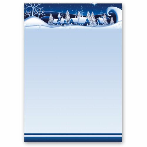 BLAU Motiv-Briefpapier WINTERDORF DIN A5 Format 50 Blatt