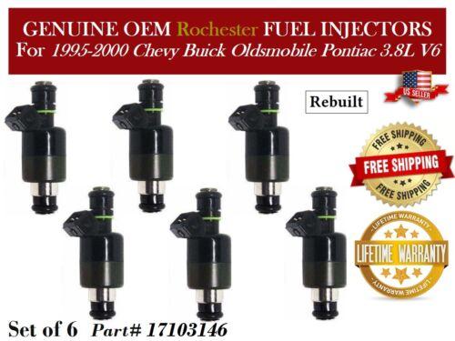 6 pcs Fuel Injectors OEM Rochester 1995-1999 Chevrolet Camaro 3.8L V6 #17103146