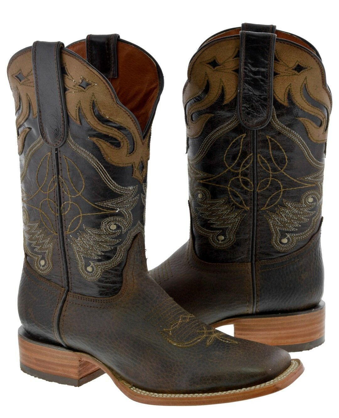 Mens Mens Mens Almond braun Real Leather Cowboy Stiefel Caramel Overlay Rodeo Square Toe 11e2dc