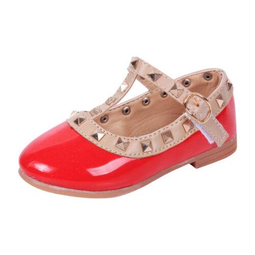 US Girls Kids Toddler Princess Sandals Rivet T Strap Flats Pointed Toe Shoe Size