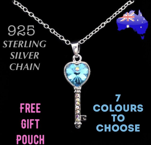 21st Birthday Crystal Heart Key Pendant 925 Sterling Silver Chain Necklace Gift