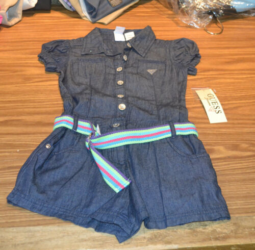 Guess Jeans Girls' Romper-Dark Denim /& Striped Belt-10-NWT