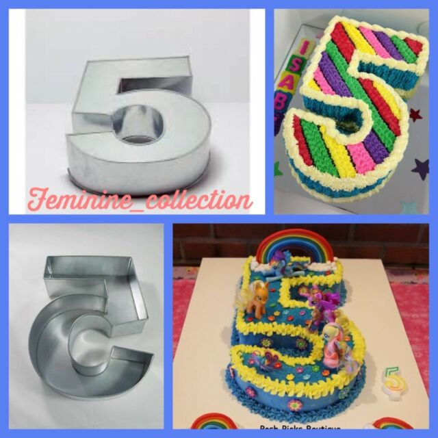 Large Number 5 Five Cake Tin Pan Mould Birthday Anniversary Measure 14x10x3
