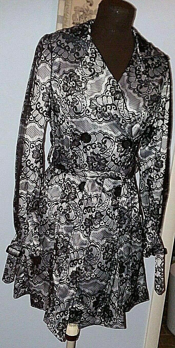 Hopeless Romantic Black White Lace Trench Coat Victorian Trading Company XS 3/4