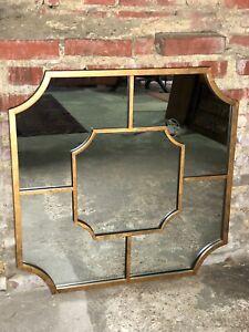Glace-miroir-carre-034-Arletty-034-en-metal-patine-doree-marbree-80-cm