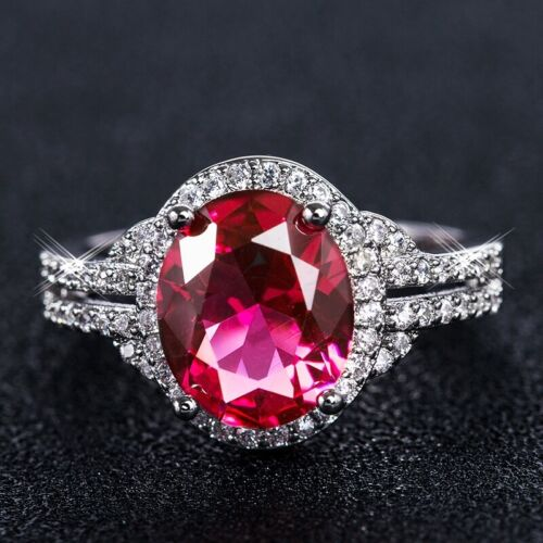 Femmes Charmant promesse Red Ruby Cristal Ovale Cut White Gold Filled Cocktail Ring