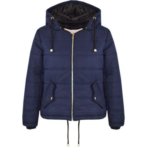 Kids Girls giacca blu Navy Corto Imbottito Puffer BUBBLE con cappuccio cappotti caldi 5-13 anni