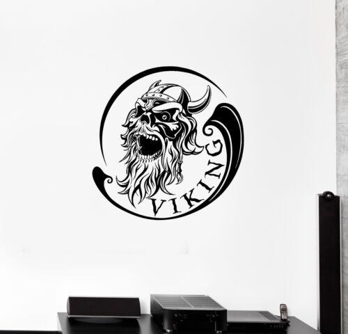 Wall Decal Viking Skull Warrior Skeleton Head Inscription Vinyl Sticker ed1137