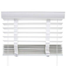 VENETIAN BLINDS PVC FAUX WOOD BLIND - 50mm SLAT & CHILD SAFE WHITE with TAPES