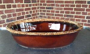 "Vintage Hull Pottery ""Brown Drip"" glaze Oval Serving Platter Dish Bowl 10"""