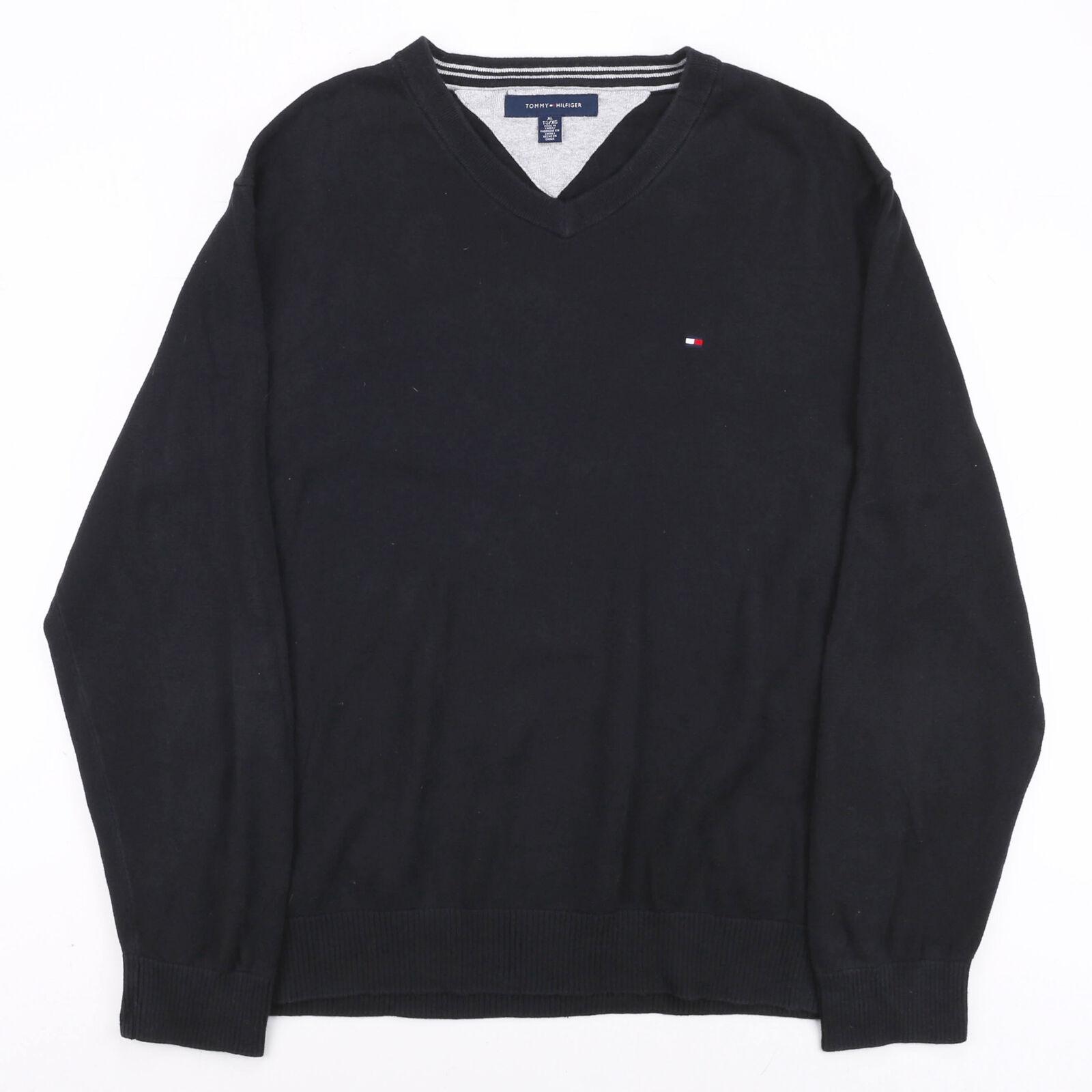 Vintage TOMMY HILFIGER Black 00s V-Neck Cotton Plain Jumper Mens XL