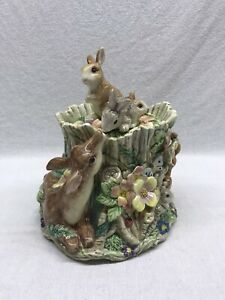 Fitz-And-Floyd-Cookie-Jar-Woodland-Spring-Rabbits-And-Deer-Vintage-Rare