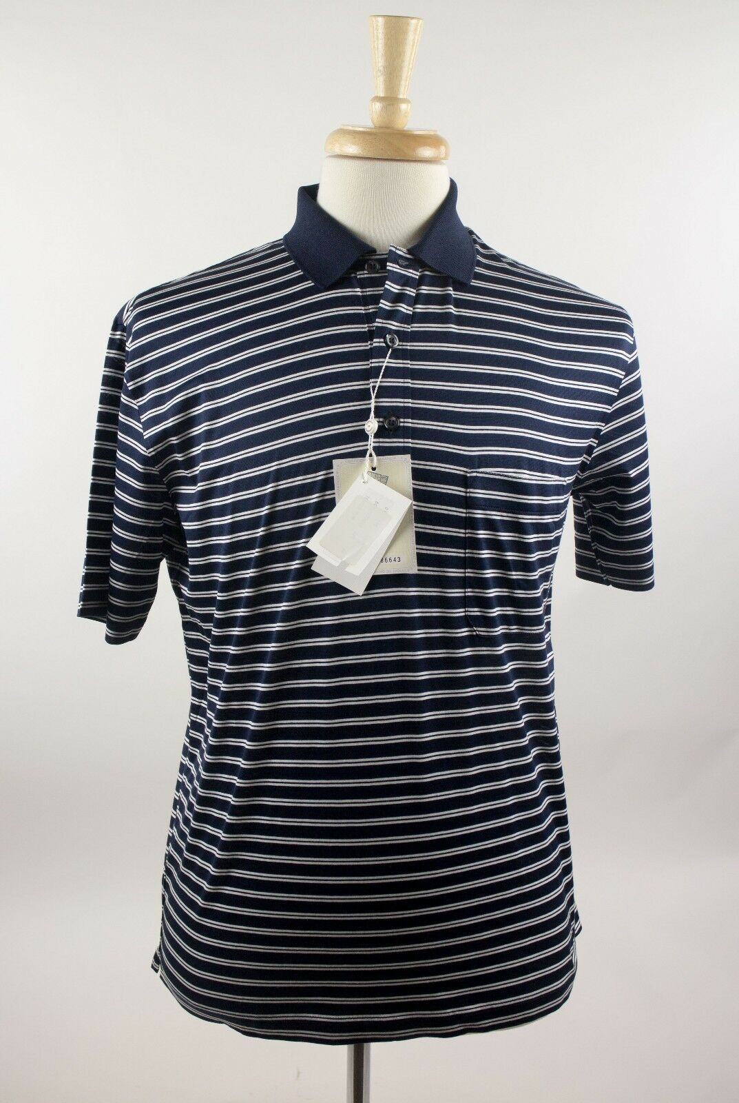 NWT Davide Cenci Midnight bluee & White Striped Casual Polo Shirt 38 48