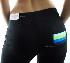 Victoria-039-s-Secret-PINK-University-Flare-Sweat-Pants-Ombre-Green-Stripe-Black